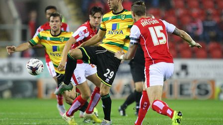 Ricky van Wolfswinkel in action during his final Norwich City appearance, a 2-1 win at Rotherham in
