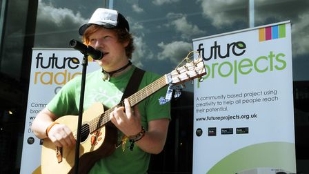 Ed Sheeran singing outside The Forum in Norwich to launch the Next Big Thing in 2009. Photo: Bill S