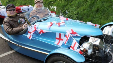 Stalham couple Mike and Julia Morcher in their Triking 1930s Morgan replica. Photo: KAREN BETHELL