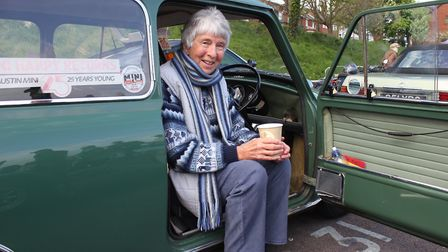 France Graham, from Beetley, with her Austin Mini, which she bought new in 1965. Photo: KAREN BETHEL