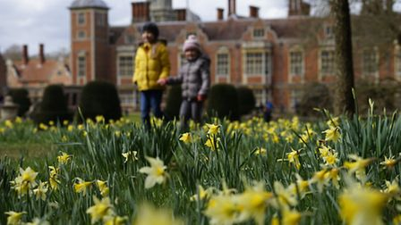 Easter egg hunt around the grounds of the National Trust's Blickling Hall. Pictured are Antonia and
