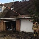 Tumble dryer fire at a property in Horsford. Picture Luke Powell.