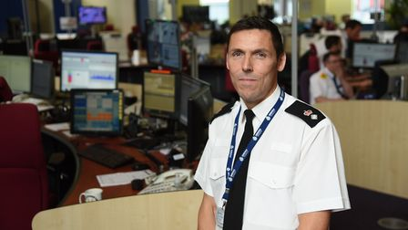 Temporary assistant chief constable Mike Fawcett in the control room at the Norfolk Police headquart