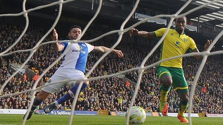 Cameron Jerome reacts quickest to notch his first goal in a 2-2 draw with Blackburn at Carrow Road l