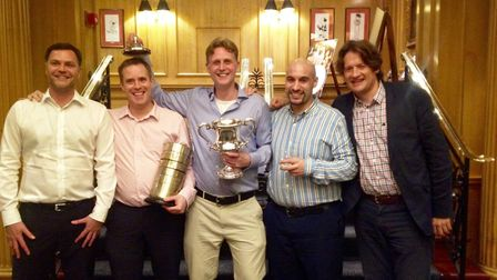 Norwich School Old Norvicensian win the Londonderry Cup, from left, Stuart Cowie, Ian Cox, Marcus Co