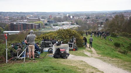 Filming of Fighting With My Family movie on Mousehold Heath.Picture: ANTONY KELLY