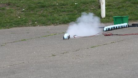 Pupils from Mildenhall College Academy take part in the Bloodhound SCC Rocket Car Challenge. Picture