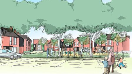 Illustrative view of Station Green. It's part of the plans for the site between Wymondham Railway St