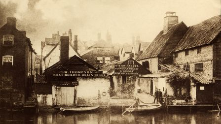 Historic photo of the rear of the Steam Packet Inn, King Street, Norwich and the ferry operated by t