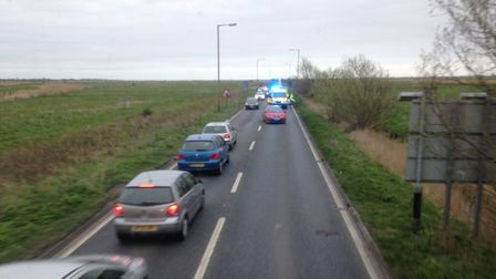 The scene of the crash near the Halvergate bend, taken from a passing X1 bus. Photo: George Ryan