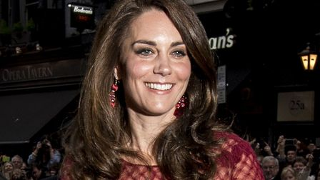 The Duchess of Cambridge arrives for the opening night of the musical 42nd Street, in aid of East An