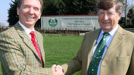 Tony Abel of Abel Homes (left) and Kevin Bowes of the Wayland Show. Picture: Abel Homes.