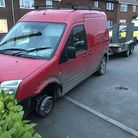 Police used a stinger to disable the tyres on this van after a pursuit which started in King's Lynn.