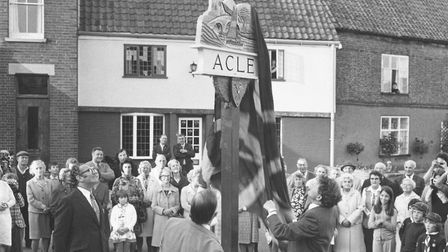 The unveiling of Acle village sign , dated August 1974. Photo: Archant Library