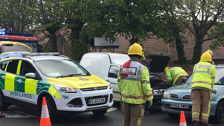 Emergency services at the scene of the collision in Norwich Road, Cromer. Picture: ALLY MCGILVRAY.