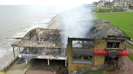 The view from the hydraulic platform as smoke still rises from the remains of Hunstanton Pier foll
