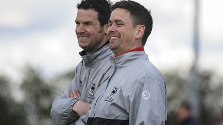 Matt Henman (right) pictured alongside Neal Simmons, the man who, has replaced him as Dereham Town m