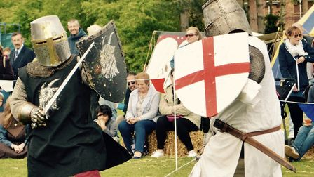 Medieval knights clashed in Thorpe St Andrew over the weekend to help celebrate St George's Day.