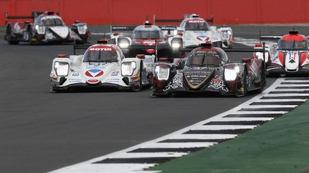Alex Brundle at Silverstone in the black #37 car leading a pack of LMP2 cars. Picture: Jean Michel L