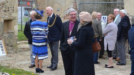 Dignitaries in attendance at a special ceremony at the ruins of St Margaret's Church, Hopton-on-Sea.