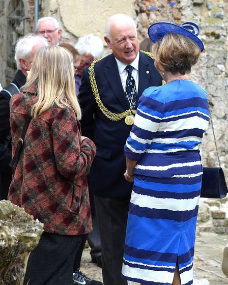 The mayor of Great Yarmouth at the ruins of St Margaret's Church, Hopton-on-Sea. Pictures: MICK HOWE