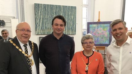 West Norfolk mayor and mayoress, David and Linda Whitby, attended the exhibition. With founders of N