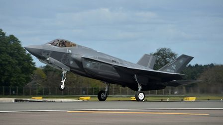 An F-35A Lightning II from the 34th Fighter Squadron at Hill Air Force Base, Utah, lands at RAF Lake