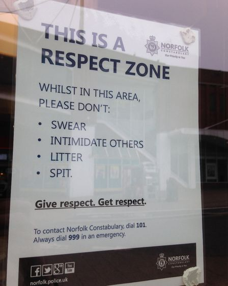 A Respect Zone poster in McDonald's in Regent Road, Great Yarmouth. Photo: George Ryan
