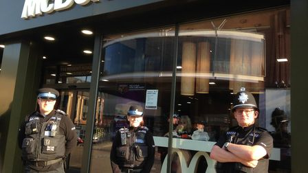 Police officers patrolling outside the McDonald's in Great Yarmouth. Photo: George Ryan