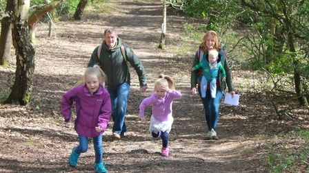James and Nicola Fischer with children Summer, Sienna and Austin taking part in an Easter trail held