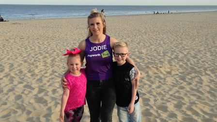 Imogen, Teddie and Jodie Fewkes. Picture: courtesy of Papworth Trust
