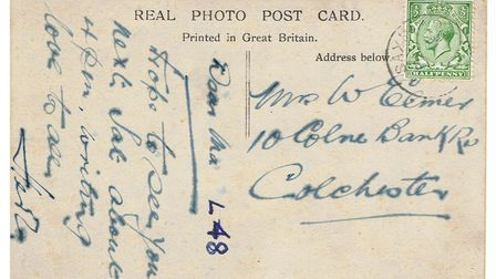 Back of a postcard of a photo of the wreck of the L.48 Zeppelin in a field in Theberton, Suffolk 191