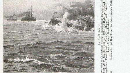 Front of a postcard depicting the sinking three HMS cruisers by a German U9 in 1914 – the postcard w