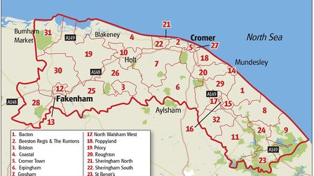 How North Norfolk District Council's ward boundaries would look after the shake-up. Graphic: Rob McV