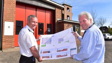 Dave Pederson and Chris Rush with proposed plans for a shared Beccles Fire and Police station on the