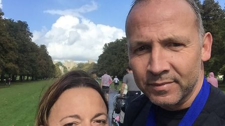 Husband and wife Claire and Adam Becket who are running the 2017 London Marathon in aid of the Dogs