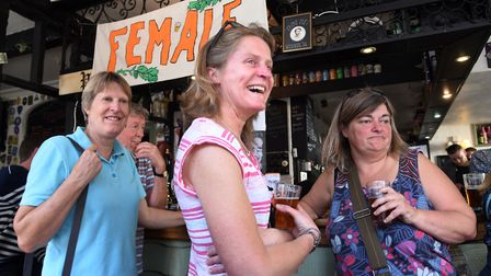 A taste for beer, ladies at the Fem.Ale event in the Plasterers Arms, Cowgate, Norwich. Photo : Stev