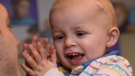 Two-year-old Jay Goodman of Hevingham, who is going through treatment at Addenbrookes Hospital for a