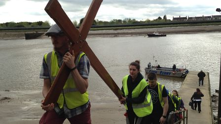 The Student Cross pilgrimage arrive in King's Lynn on their way to Walsingham for Easter. Picture: A