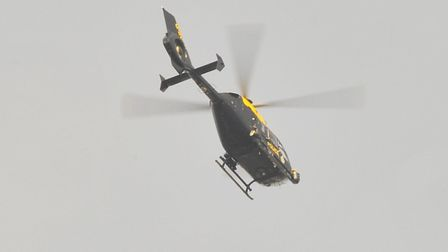 police helicopter over Norwich Picture by SIMON FINLAY.