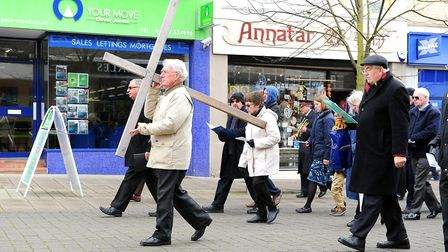 Walk of Witness / Procession of the Cross through the town centre in Lowestoft on Good Friday. Apri