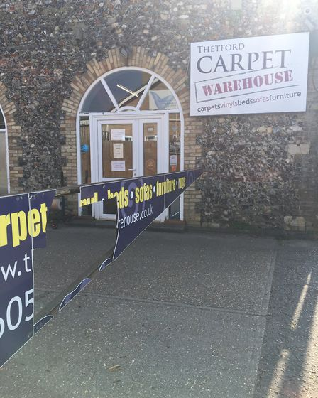 Damage caused to the sign at Thetford Carper Warehouse. Picture: Gemma Tilly