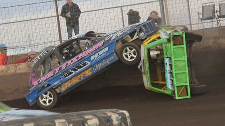 Saturday night action in the 1300 Stock Cars included this big double rollover between Jordan Gay an