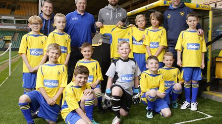 Norwich City captain Russell Martin presented new kits to Old Catton U9s at Carrow Road, as part of