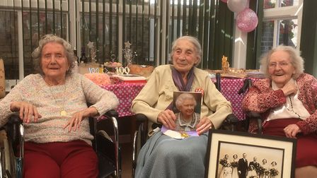 100-year-old Frances Roberts (centre), with school friend Norah Gough, 99 and chief bridesmaid Murie