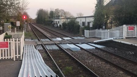 Safety gates have been installed on the rail crossing at Halesworth station. Picture: Network Rail.