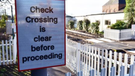 A sign installed at Halesworth station to help pedestrians cross safely. Picture: Nick Butcher.