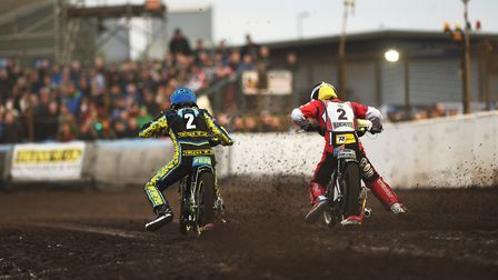 Lewis Rose and (R) Steve Worrall flying out of the gate in heat one. Picture: Ian Burt