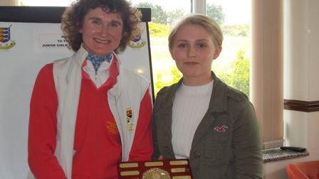 Spring Trophy winner Polly Norman with Samantha Martin, captain of the Norfolk county team. Picture: