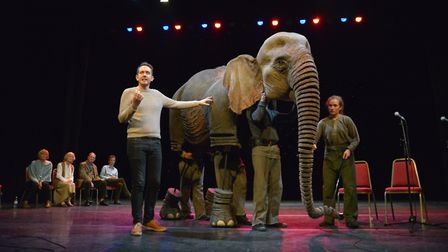 Toby Olié with Oona the elephant from Running Wild. Photo: supplied by Norwich Theatre Royal.